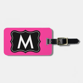 Pink and black luggage tag | Personalize monogram