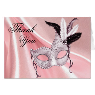 Pink and Black Masquerade Party Thank You Stationery Note Card
