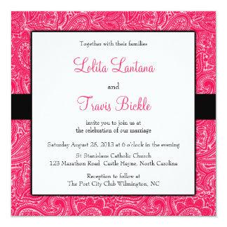 Pink and Black Mini Paisley Wedding Invitation