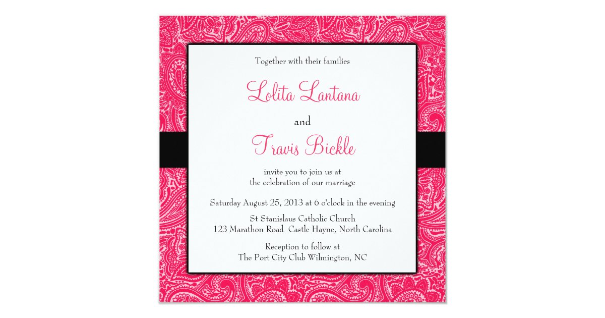 Pink and Black Mini Paisley Wedding Invitation | Zazzle.com