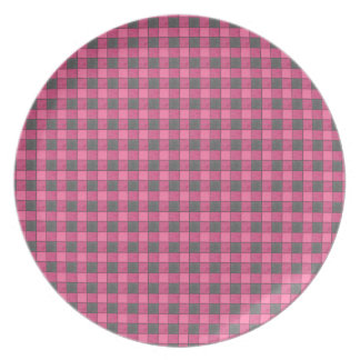 Pink and Black Mini Plaid Check Plate