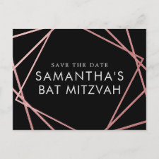 Pink and Black Modern Bat Mitzvah Save the Date Announcement Postcard