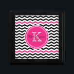 """Pink and Black Modern Chevron Custom Monogram Jewelry Box<br><div class=""""desc"""">Modern chevron zigzag keepsake box features black and white chevron stripes and a round pink accent frame for your initials. Great for storing precious keepsakes, jewelry or other items. Makes a great gift for all occasions. Choose from a variety of gift box colors and sizes. Click the &quot;Customize it!&quot; button...</div>"""