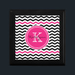 "Pink and Black Modern Chevron Custom Monogram Jewelry Box<br><div class=""desc"">Modern chevron zigzag keepsake box features black and white chevron stripes and a round pink accent frame for your initials. Great for storing precious keepsakes, jewelry or other items. Makes a great gift for all occasions. Choose from a variety of gift box colors and sizes. Click the &quot;Customize it!&quot; button...</div>"