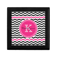Pink and Black Modern Chevron Custom Monogram Jewelry Box
