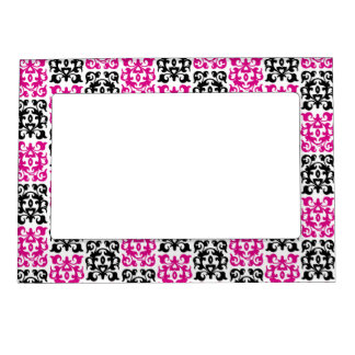 Pink and Black Modern Classic Damask Elements Magnetic Picture Frame
