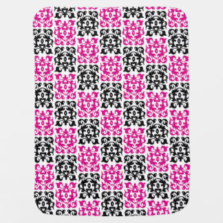 Pink and Black Modern Classic Damask Elements Swaddle Blanket