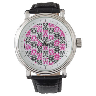Pink and Black Modern Classic Damask Elements Watches