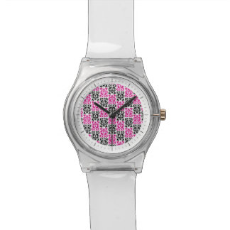 Pink and Black Modern Classic Damask Elements Wrist Watches