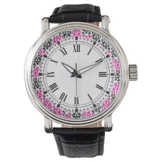 Pink and Black Modern Classic Damask Elements Wristwatch