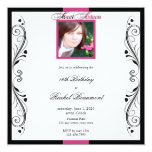 Pink and Black Modern Floral Party Invitation