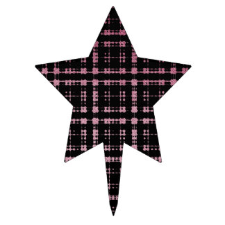 Pink and Black Modern Plaid Netted Ombra Cake Topper