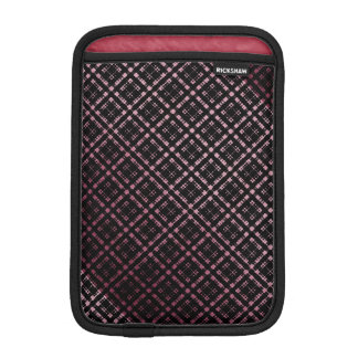 Pink and Black Modern Plaid Netted Ombra iPad Mini Sleeve