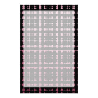 Pink and Black Modern Plaid Netted Ombra Stationery