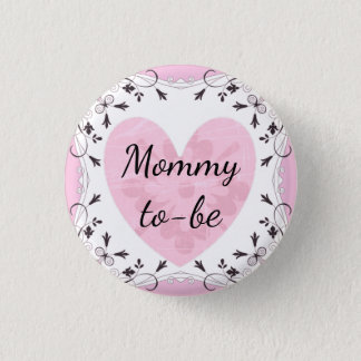"Pink and Black ""Mom to be"" Baby Shower Button"