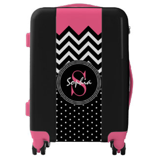 Pink and Black Monogram Chevron Fashion Chic Luggage