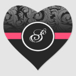 Pink and Black Monogram Heart Damask Stickers