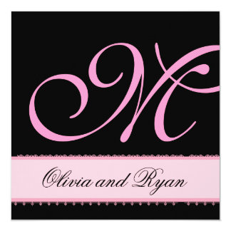 Pink and Black Monogram Lace Wedding Invitation