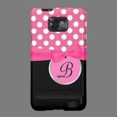 Pink and Black Monogram Samsung Galaxy Phone Case Samsung Galaxy S Cases
