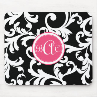 Pink and Black Monogrammed Damask Mouse Pad