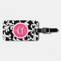 Pink and Black Monogrammed Damask Print Luggage Tag