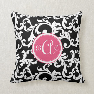 Pink and Black Monogrammed Damask Print Throw Pillow