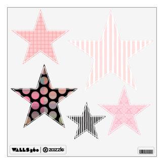 Pink and Black Multi-Pattern Stars Wall Stickers