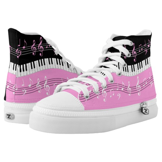 pink and  Black music themed High-Top Sneakers