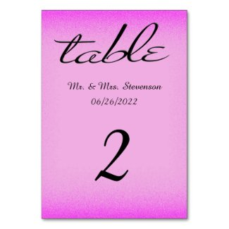 Pink and Black Name and Date Table Cards