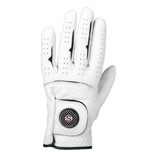 Pink and Black, Name and Initial with Polka Dots Golf Glove