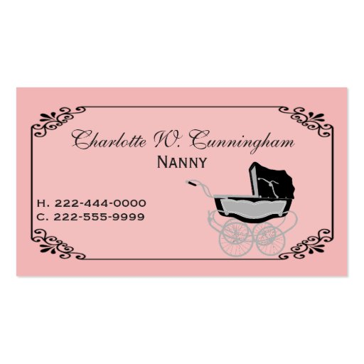 Baby sitter business card business card templates bizcardstudio pink and black nanny custom business card friedricerecipe Image collections