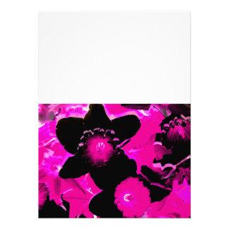 Pink and Black Neon Daffodils Invite