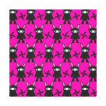 Pink and Black Ninja Bunny Pattern Gallery Wrap Canvas