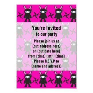 Pink and Black Ninja Bunny Pattern Card