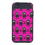 Pink and Black Ninja Bunny Pattern iPhone 4/4S Cases
