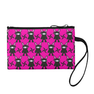 Pink and Black Ninja Bunny Pattern Coin Purse