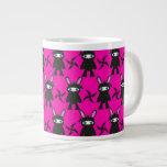 Pink and Black Ninja Bunny Pattern Extra Large Mug
