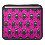 Pink and Black Ninja Bunny Pattern Sleeves For iPads
