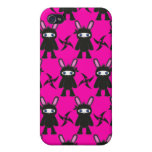 Pink and Black Ninja Bunny Pattern iPhone 4 Case