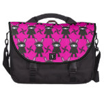 Pink and Black Ninja Bunny Pattern Laptop Messenger Bag