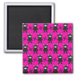 Pink and Black Ninja Bunny Pattern Refrigerator Magnets