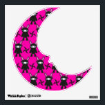 """Pink and Black Ninja Bunny Pattern Wall Decal<br><div class=""""desc"""">A kawaii pattern of ninja bunnies coloured in bright pink and black. The cute bunny wears a black ninja outfit with a ninja star knife. Press the orange &#39;customise it&#39; button above to customise and personalize the item by choosing a different style, changing the colour and size or adding your...</div>"""
