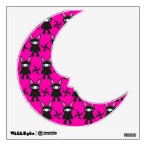 Pink and Black Ninja Bunny Pattern Wall Decal