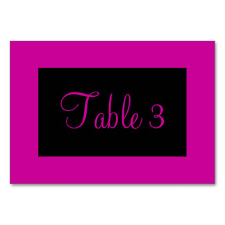 Pink and Black Numbered Table Cards