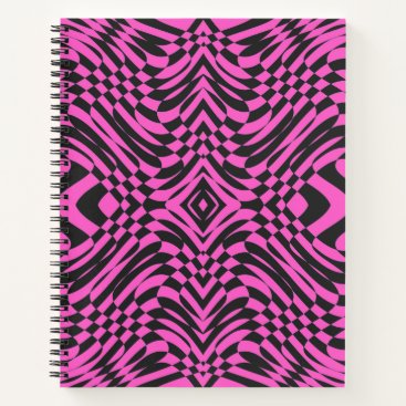 Beach Themed Pink and Black Op Art Notebook