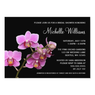 Pink and Black Orchid Bridal Shower Card