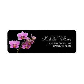 Pink and Black Orchid Label