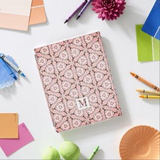 Pink and black ornamental pattern monogram initial iPad smart cover
