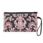 pink and black ornate fleur chic damask wristlet purses