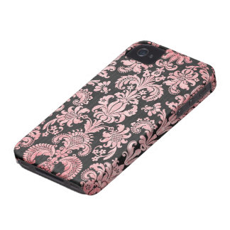 pink and black ornate fleur chic damask iPhone 4 cover